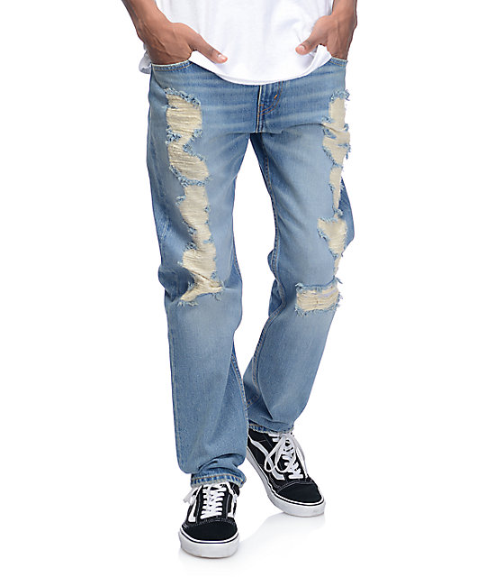 Levi S Razza Ripped Medium Blue 502 Jeans