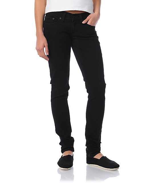 Levis 524 Too Superlow Black Pressed Skinny Jeans