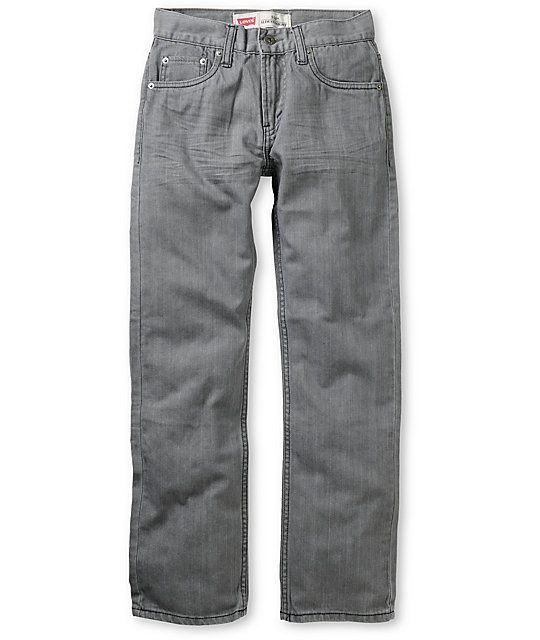 Levis Boys 514 Grey Slim Straight Jeans