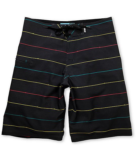 Liquid Force Stepster Black & Rasta 22 Board Shorts