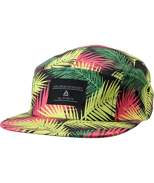Lira Black & Neon Leaf Print 5 Panel Hat