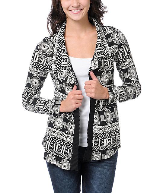 Lira Black & White Flash Cardigan Sweater
