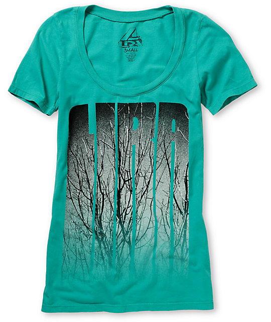 Lira Branches Teal Scoop Neck T-Shirt
