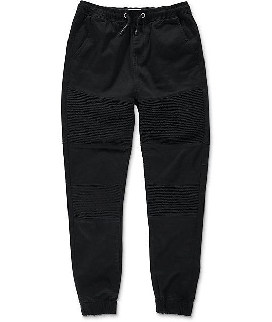 Lira Cardinal Moto Twill Black Jogger Pants
