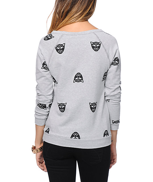 Lira Cheetah Print Heather Grey Crew Neck Sweatshirt