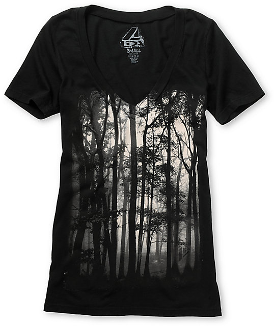 Lira Forest Black V-Neck T-Shirt
