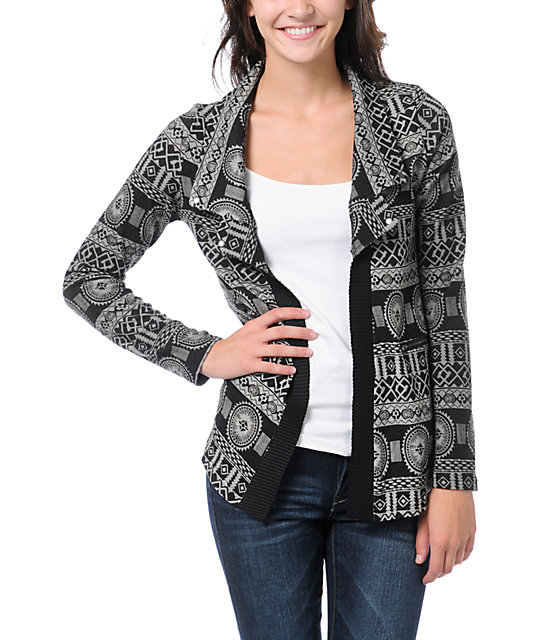 Lira Grey & Brown Flash Cardigan Sweater