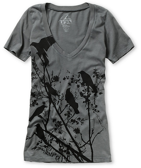 Lira Invasion Charcoal Grey V-Neck T-Shirt