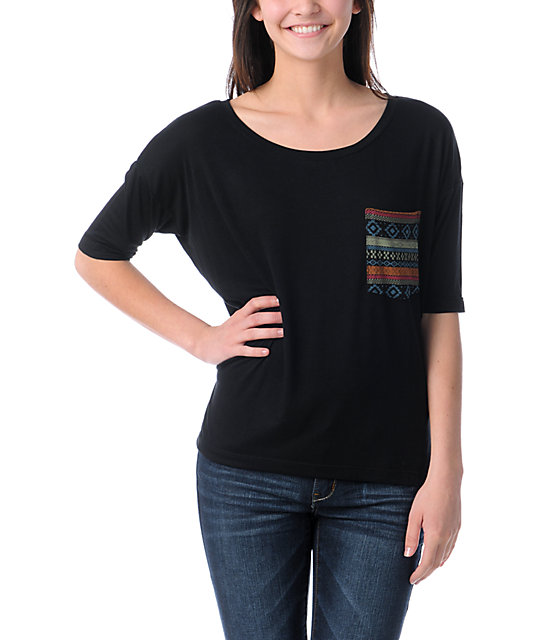 Lira Mayan Black Rayon Top