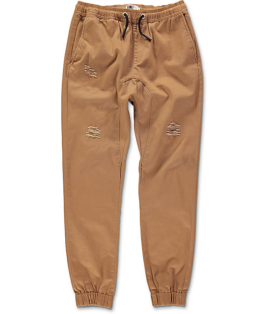 Lira Rodeo Dark Khaki Destructed Twill Jogger Pants