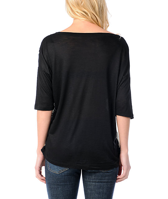 Lira Root Black Slub Oversized Rayon Top
