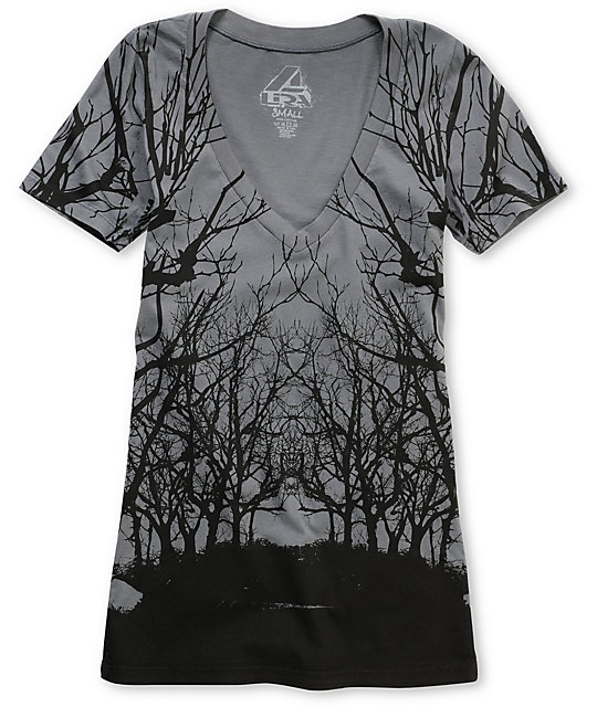 Lira Roots Charcoal V-Neck T-Shirt