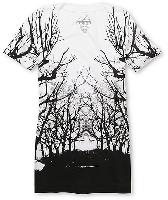 Lira Roots White & Black V-Neck T-Shirt