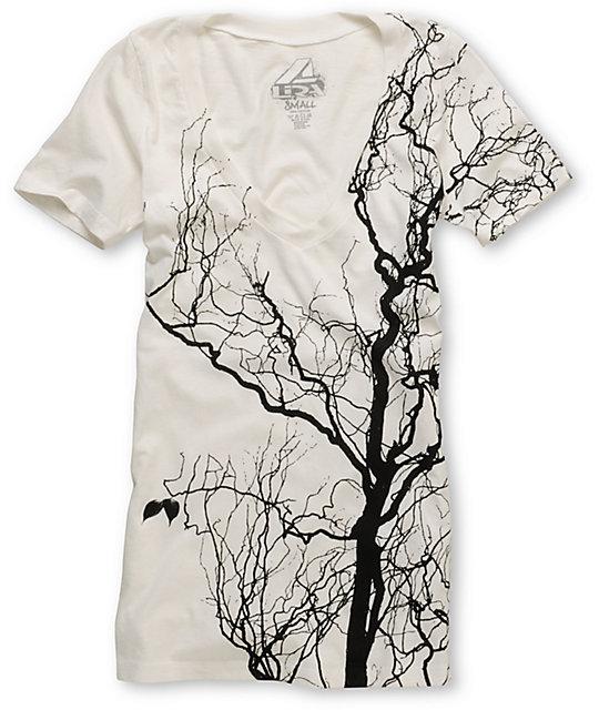 Lira Timber White V-Neck T-Shirt