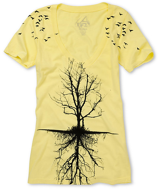 Lira Tree Yellow & Black V-Neck T-Shirt