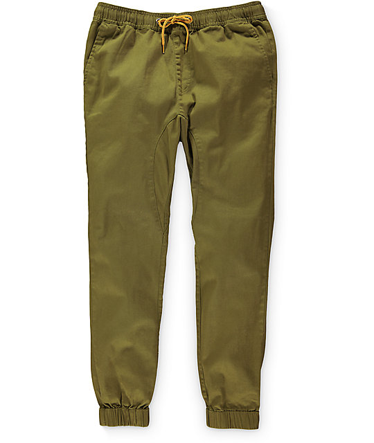 Lira Weekend Olive Twill Jogger Pants