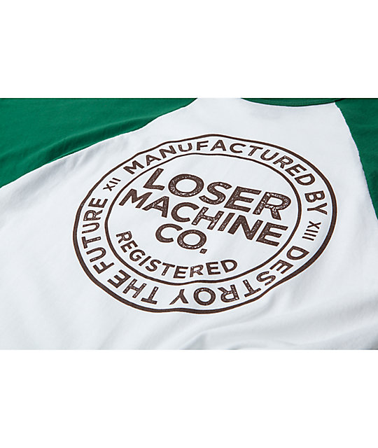 Loser Machine Enroll Green & White Raglan T-Shirt