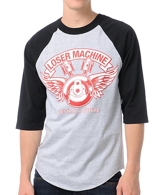 Loser Machine Flywheel Grey & Black Baseball T-Shirt