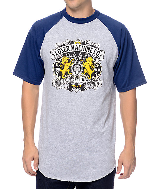 Loser Machine Monarch Grey & Navy Raglan T-Shirt