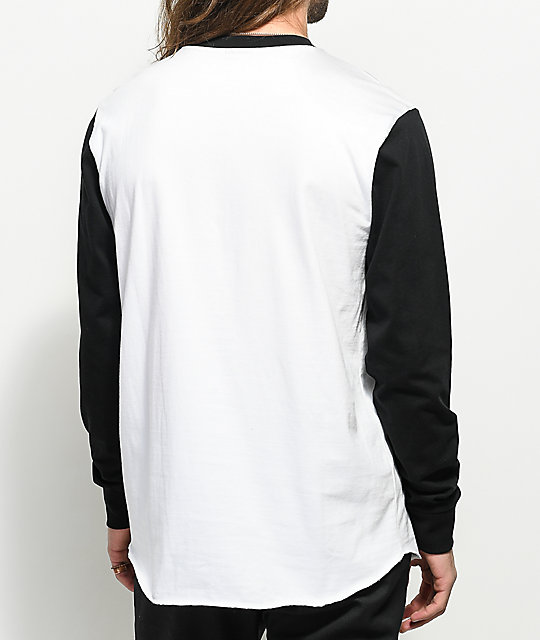 Loser Machine Reynolds White & Black Long Sleeve Knit Baseball T-Shirt