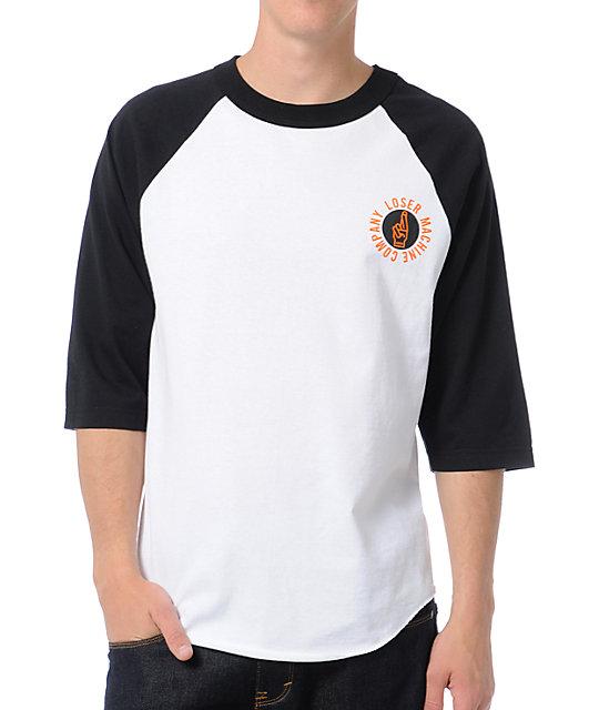 Loser Machine Suicide Circle White & Black Baseball T-Shirt