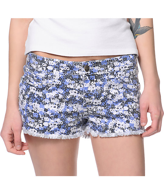 Lost Anthea Blue Floral Cut Off Shorts