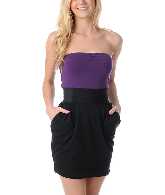 Love, Fire Aurora Black & Purple Tube Dress