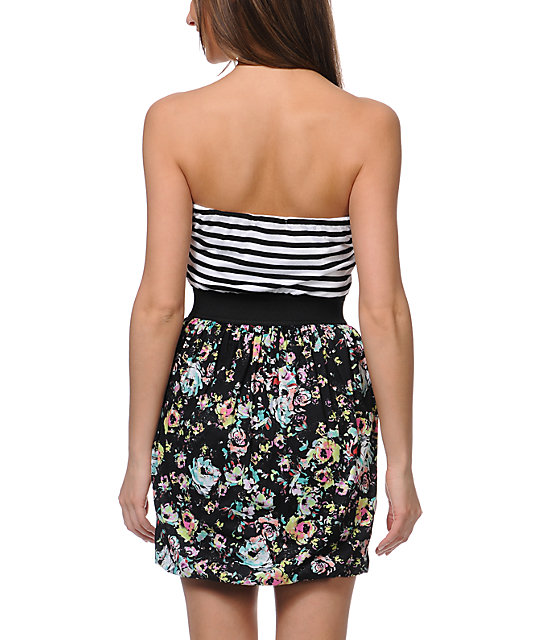 Love, Fire Aurora Black Floral Print Strapless Dress