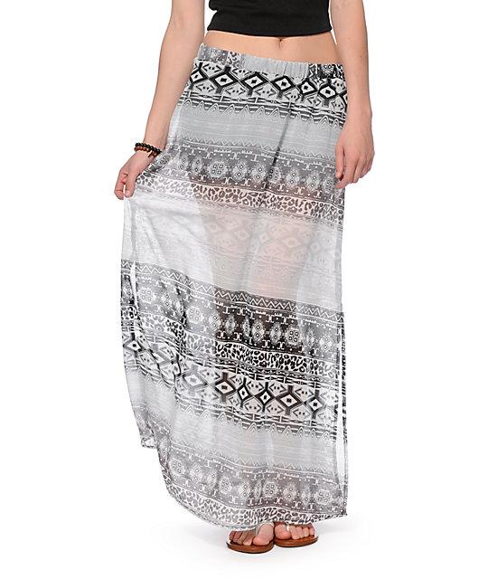 Love, Fire Aztec Print Chiffon Maxi Skirt