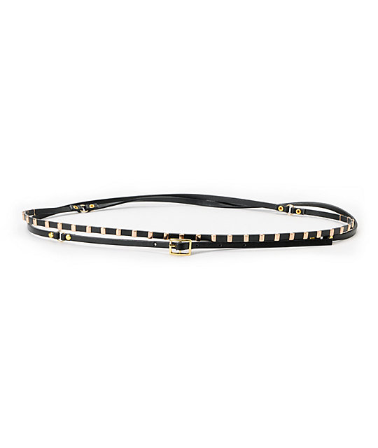 Love, Fire Black Double Wrap Studded Skinny Belt