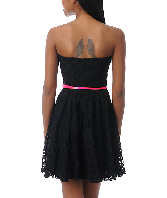 Love, Fire Black Lace Strapless Dress