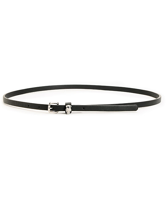 Love, Fire Black Skull Clasp Skinny Belt