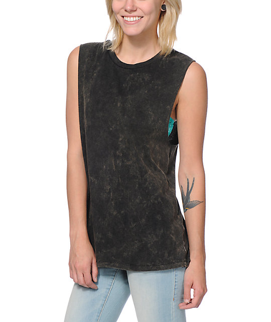 Love, Fire Black Tie Dye Muscle Tank Top