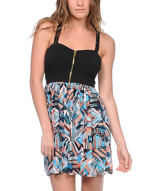 Love, Fire Black Tribal Print Zipper Dress