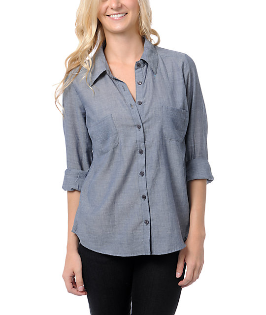 Love, Fire Chambray Indigo Blue Lace Back Button Up Shirt