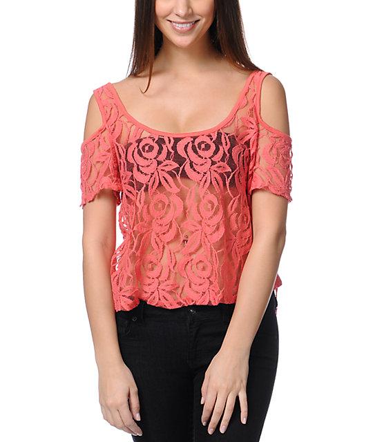 Love, Fire Cold Shoulder Lace Zipper Coral Top