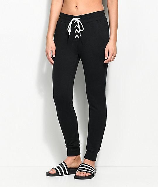 Love, Fire Corinne Black Lace Up Jogger Sweatpants