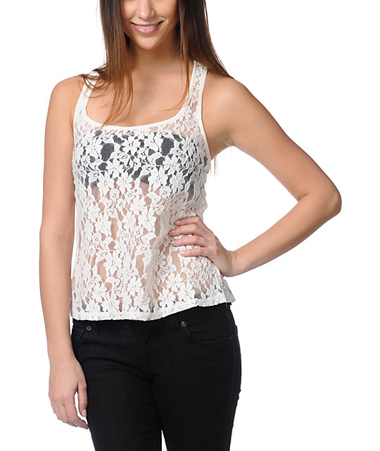Love, Fire Cream Lace Tank Top
