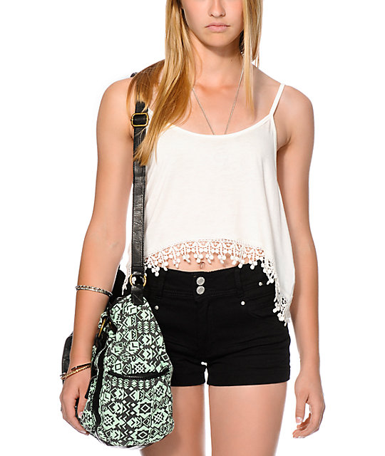 Love, Fire Crochet Trim Crop Tank Top