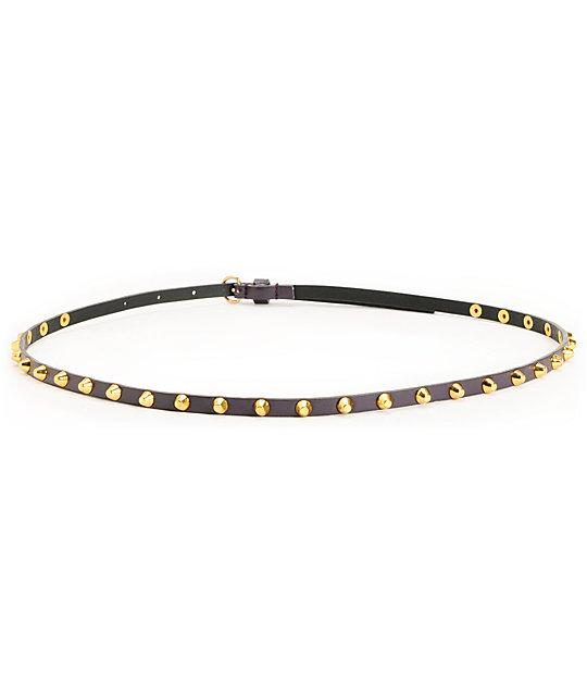 Love, Fire Dark Brown Studded Skinny Belt