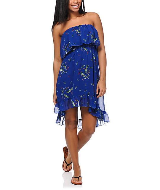 Love, Fire Dragonfy Ruffle Strapless Dress