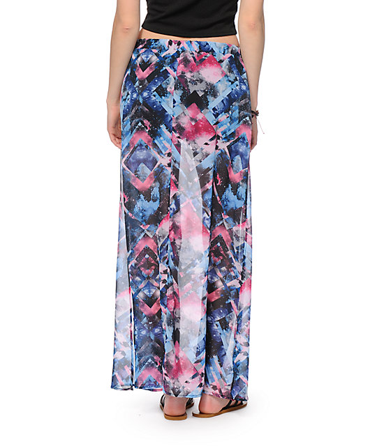Love, Fire Galaxy Print Chiffon Maxi Skirt