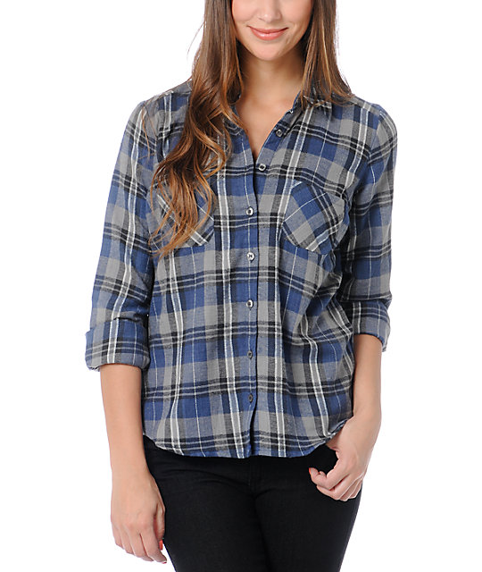 Love, Fire Grey & Blue Plaid Lace Back Button Up Flannel Shirt