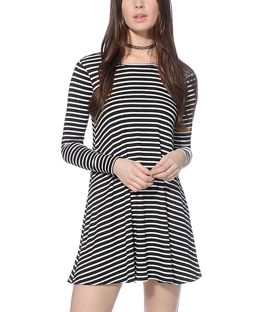 Love, Fire Hal Black and White Stripe Long Sleeve T-Shirt Dress
