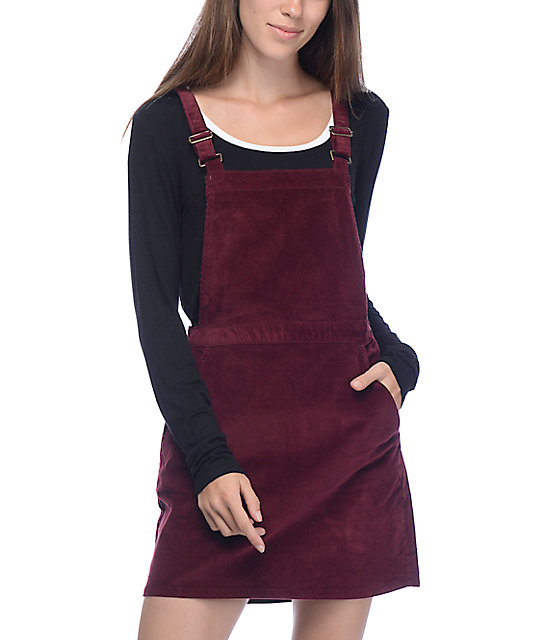 Love, Fire Maven Burgundy Corduroy Jumper Dress
