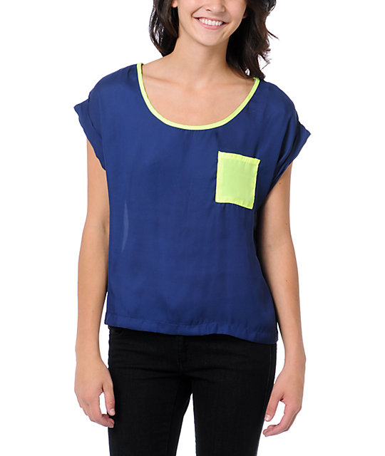 Love, Fire Navy & Neon Yellow Button Back Top