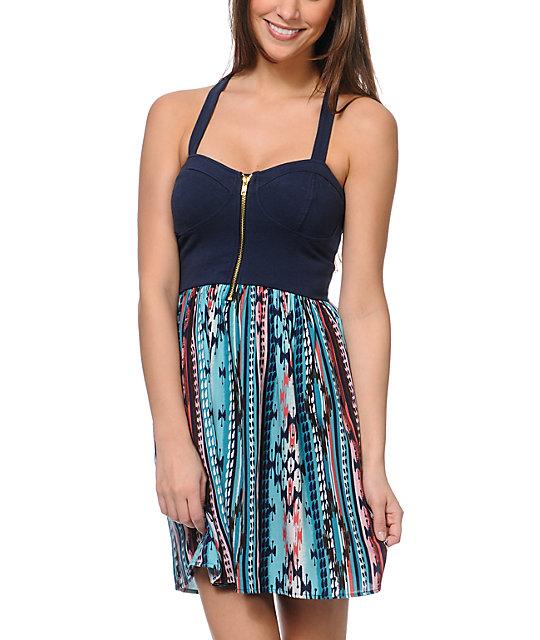 Love, Fire Navy Stripe Tribal Print Zipper Dress
