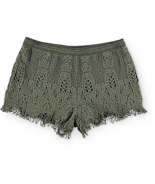 Love, Fire Olive Crochet Shorts