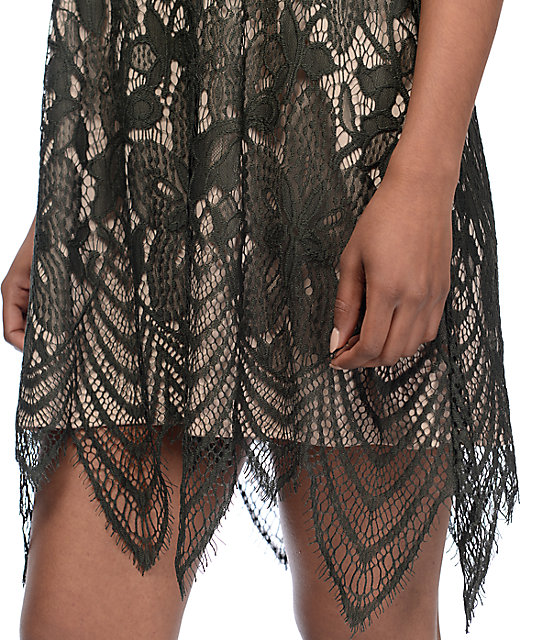 Love, Fire Olive High Neck Lace Slip Dress
