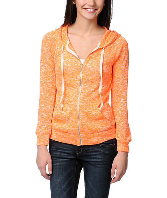 Love, Fire Open Stitch Neon Orange Zip Up Hoodie